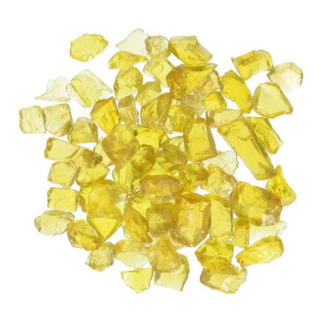 CG-YELLOW-S-10 American Fireglass 10 LB Bag 1/2 Inch Reflective Fireplace & Pit Glass, Yellow 1