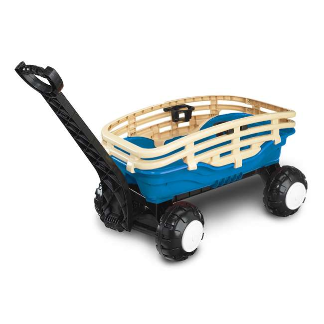 APT-15100 American Plastic Toys Deluxe Indoor Outdoor Plastic Runabout Stake Wagon, Blue