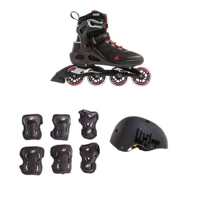 7955200741-12 + 06320200001-M + 067H0310800-L Rollerblade USA Men's, Size 12 & Rollerblade USA Pads w/ Rollerblade USA Helmet