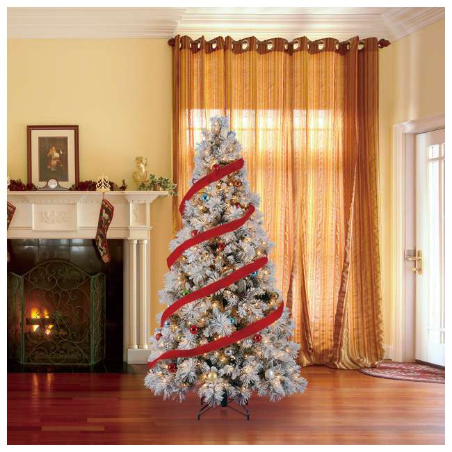 TG76M4E42S20 + GX1623U22F27 Home Heritage Snowdrift Spruce 7.5' Pre Lit Christmas Tree with Rotating Stand 5