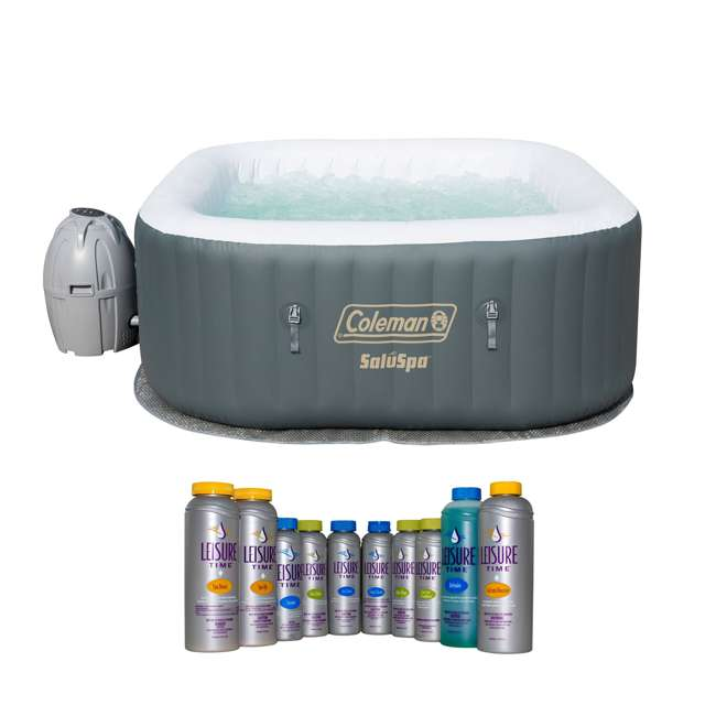 15442-BW + 45522A Coleman SaluSpa Inflatable Jacuzzi Hot Tub with Luxurious Spa Support Kit