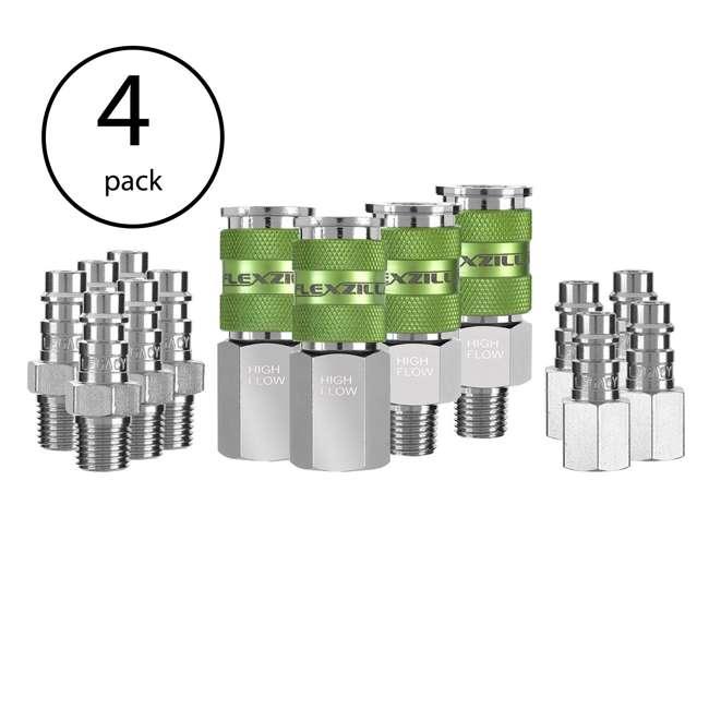 4 x LEG-A53458FZ Flexzilla 14-Piece Pro High Flow Coupler and Plug Kit (4 Pack)