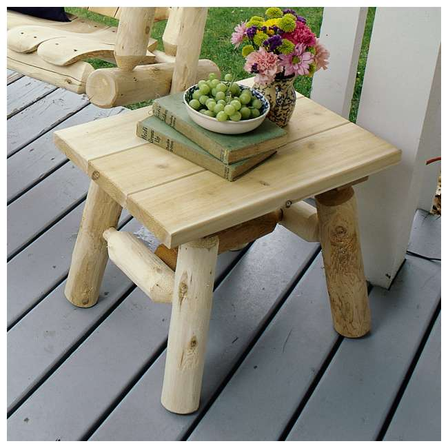 CF1222 Lakeland Mills White Cedar Log Wood Outdoor Porch Patio End Side Table, Natural 2