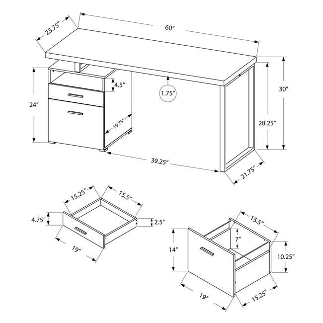 "MS-VM7144-U-B Monarch Specialties 60"" Contemporary Computer Desk with Drawer, White (Used) 3"