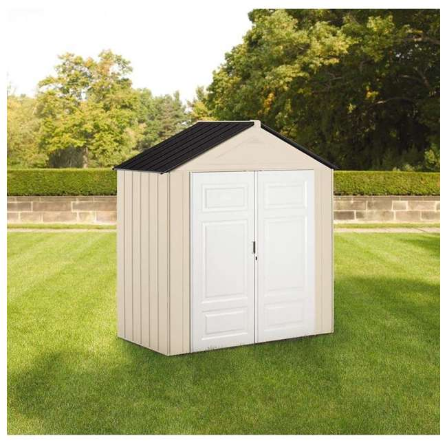 1862705 Rubbermaid 7 x 3-Foot Double Wall Plastic Outdoor Storage Shed, Maple/Sandstone 5