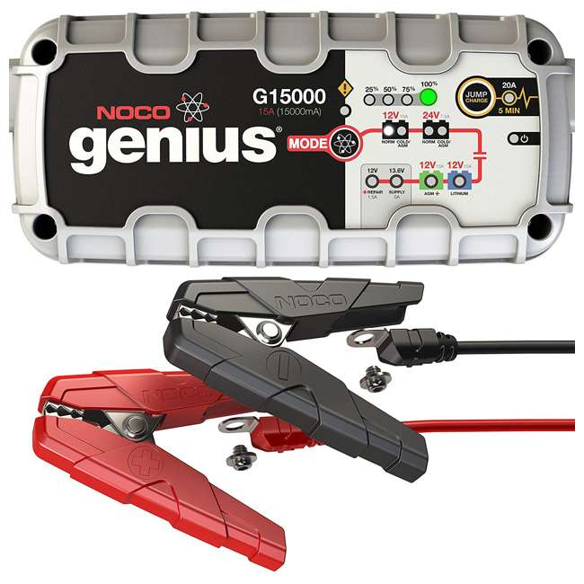 G15000 Noco Genius 15 Amp Battery Charger with JumpCharge Engine Start