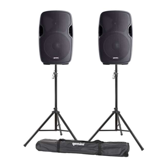 "AS-08BLU + ST-PACK Gemini AS-08BLU 8"" Bluetooth PA Loudspeaker (Pair) w/ Tripod Stands & Carry Bag"