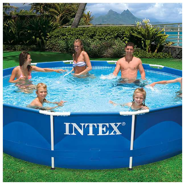 28211EH-U-A Intex 12 x 2.5 Foot Metal Frame Above Ground Pool and Filter (Open Box) (2 Pack) 3