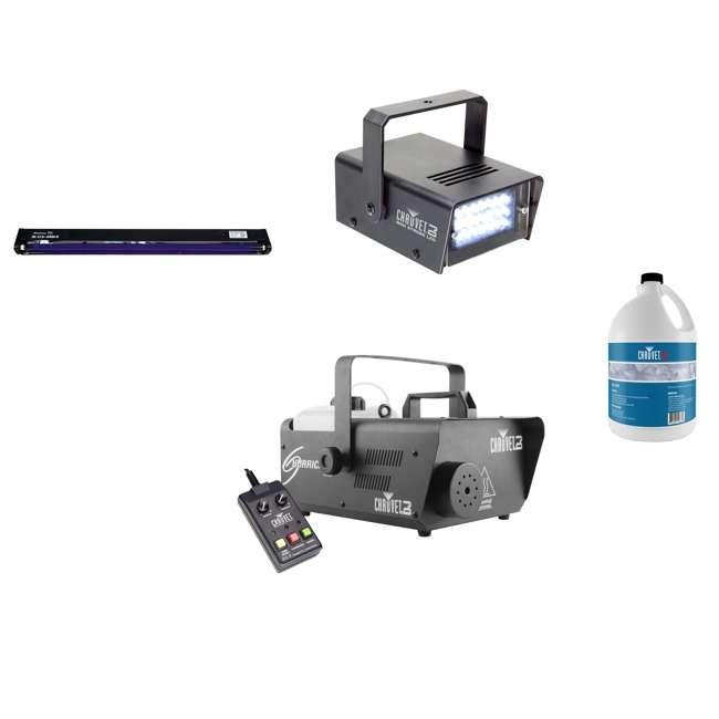 H1600 + FJU + MINISTROBE-LED + BLACK-24BLB Chauvet DJ Fog Machine & Fog Juice & Mini Strobe Light & American DJ Blacklight