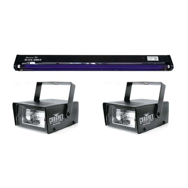 "BLACK-48BLB + 2 x MINISTROBE-LED BLACK-48BLB AMERICAN DJ 48"" UV Pro Blacklight + (2) CHAUVET Mini Strobe Lights"