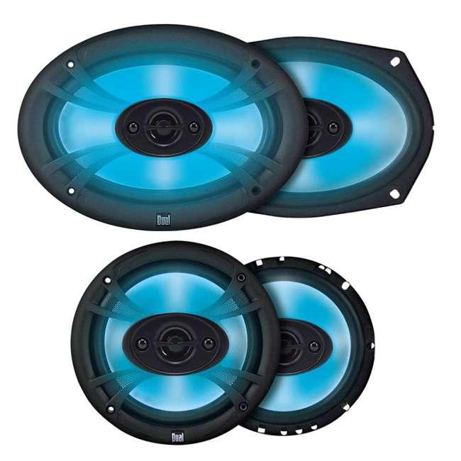 TS65 + TS69 Dual TS65 6.5-Inch 140W 3 Way with TS69 6x9 150W 3 Way Coaxial Speakers Neon Light