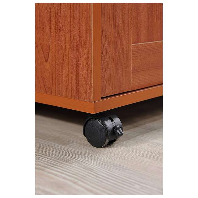 HIKF78 CHERRY Hodedah Wheeled Kitchen Island Cart with Spice Rack and Towel Holder, Cherry 3