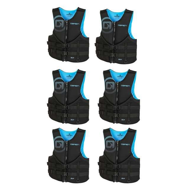 6 x 2181994-MW OBrien Traditional Men's Neoprene Life Vest Size S, Cyan (6 Pack)