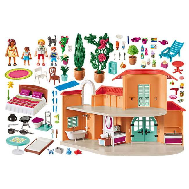 9420 Playmobil 9420 Summer Villa Interactive Doll House & Figures Play Set, Ages 4+ 2