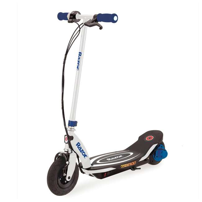 13111210 + 97780 Razor Power Core E100 Electric Scooter, Blue + Razor V17 Childrens Helmet, Glossy Black 2