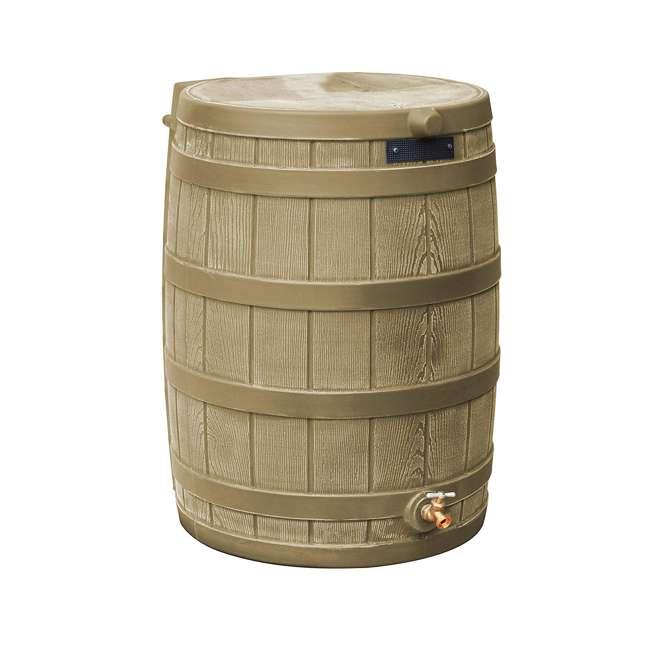 RW50-DIV-KHA Good Ideas Rain Wizard Rain Collection Barrel 50-Gallon w/ Diverter Kit, Khaki 1
