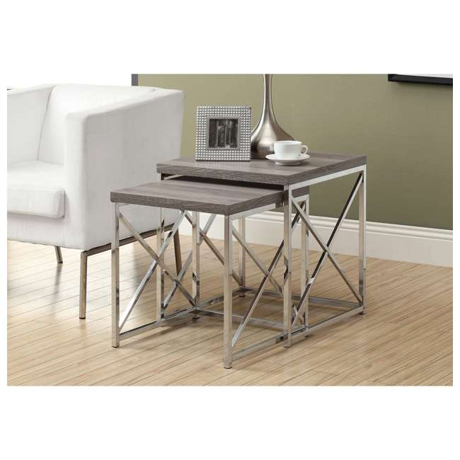 MS-VM3255-U-A Monarch Specialties 2-Piece Accent End Tables, Dark Taupe (Open Box) (2 Pack) 1