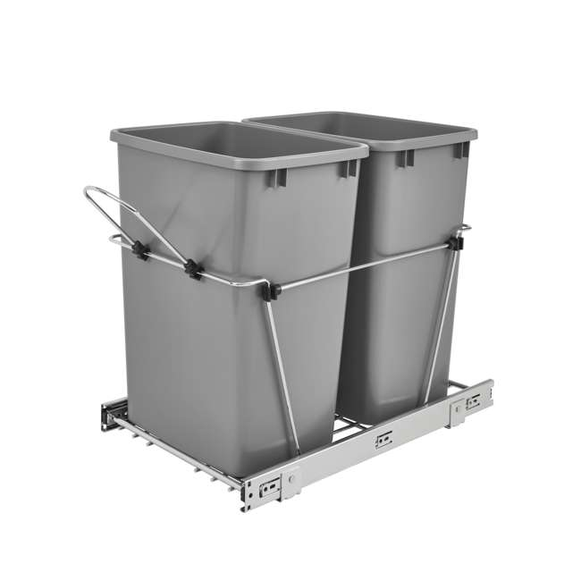 RV-18KD-17C S Rev-A-Shelf RV-18KD-17C S Double 35 Quart Pull-Out Waste Containers, Silver