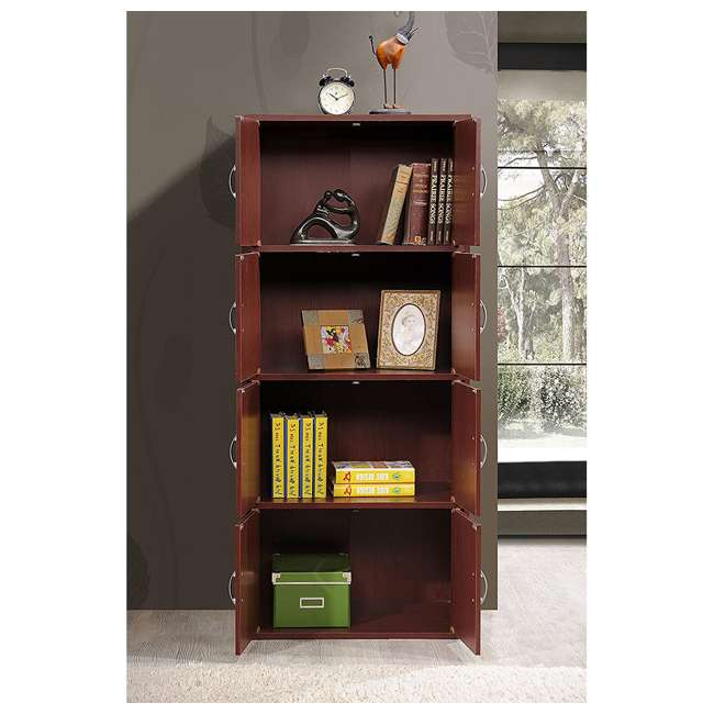HID44 MAHOGANY Hodedah 8 Door Enclosed Multipurpose Storage Cabinet for Home/Office, Mahogany 2