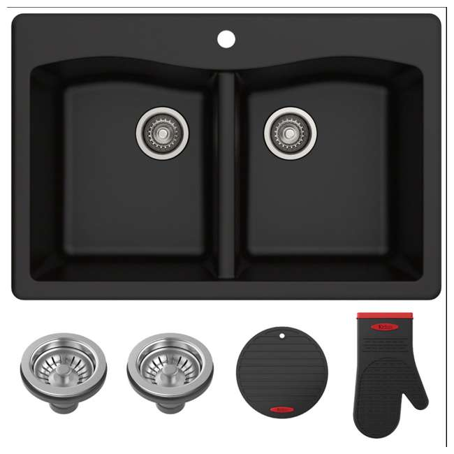 KGD-52BLACK Kraus Forteza 33-Inch Dual-Mount 50/50 Double Bowl Granite Kitchen Sink, Black