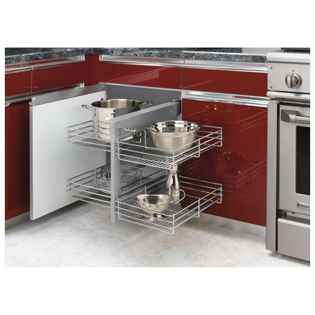 5PSP-15-CR Rev-A-Shelf 5PSP-15-CR 15 Inch Chrome Blind Corner Kitchen Cabinet Organizer 2