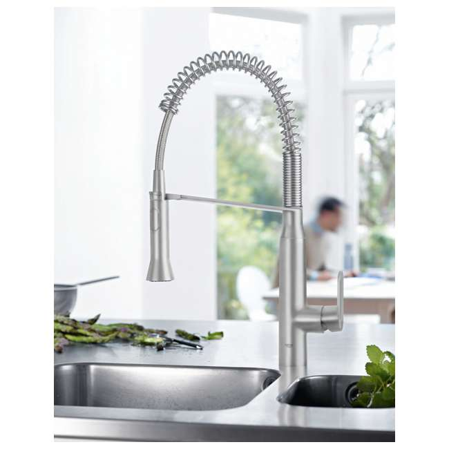 31380DC0-OB Grohe K7 Single Handle Spray Swivel Kitchen Faucet with Steel Finish (OPEN BOX) 1
