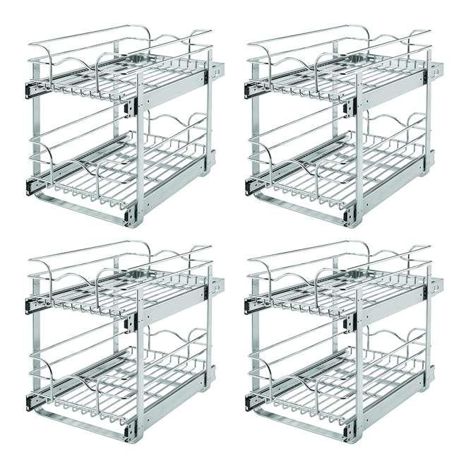 "4 x 5WB2-1218-CR Rev-A-Shelf 12"" Wide 18"" Deep Base Kitchen Cabinet 2 Tier Wire Basket (4 Pack)"