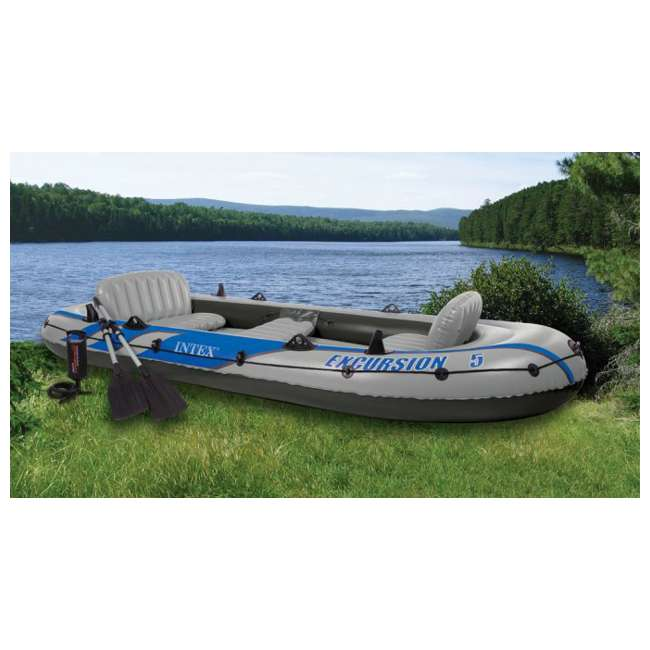 4 x 68325EP INTEX  Excursion 5 Inflatable Rafting/Fishing Dinghy Boat Set |  (Used) (4 Pack)