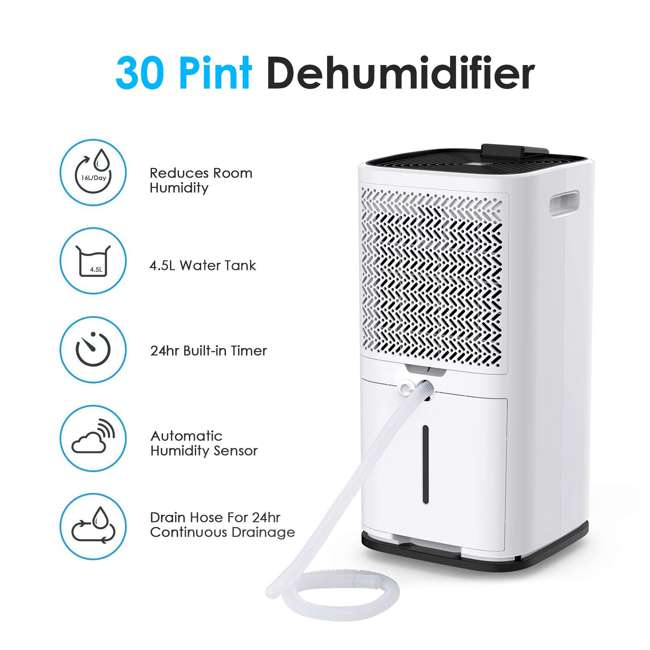 PD123A Colzer PD123A 30 Pint 1500 Sq Ft Portable Home Room Basement Air Dehumidifier 9