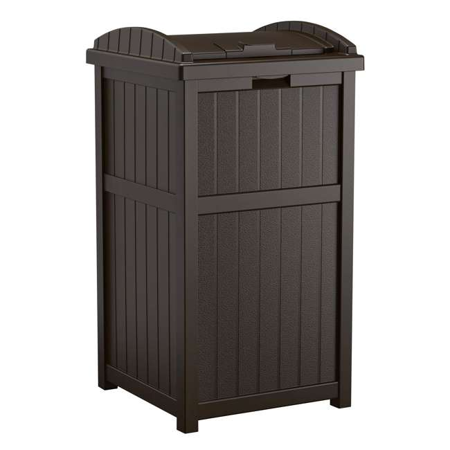 4 x GH1732J-U-A Suncast 30-33 Gallon Deck Patio Java Garbage Trash Can Hideaway(Open Box)(4 Pack)