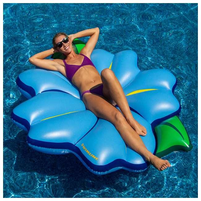 "3 x SL-90560M Swimline 75"" Inflatable Primrose Flower Relaxation Lounge Float, Blue (3 Pack) 3"