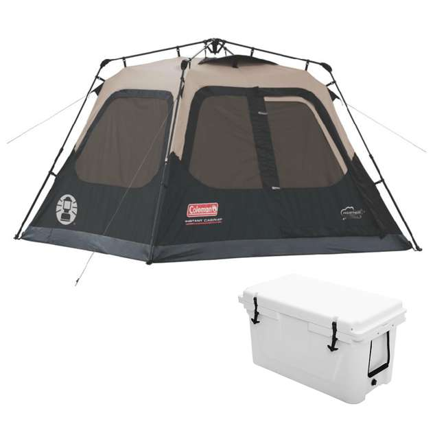 2000018016 + 2A-CM004W Coleman Outdoor Camping 4-Person Cabin Tent and Uriah Products Cooler