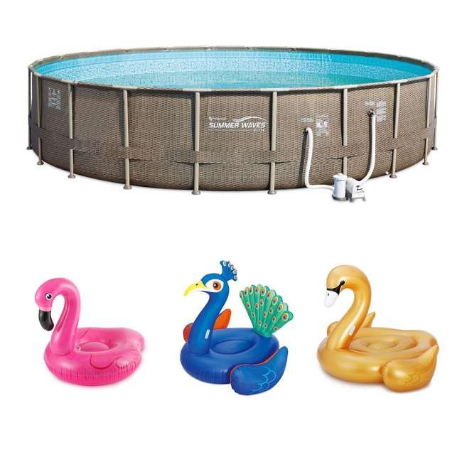 P4N02252B167+K50525000167+K50617000167+K5063500016 Summer Waves Elite 22 Foot Pool Kit + Pink Flamingo, Peacock and Swan Floats