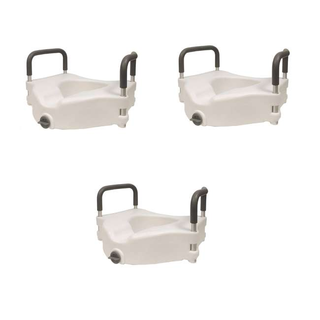 3 x 59013-TSEAT Clamp-On 4.5 Inch Raised Toilet Seat with Handles (3 Pack)
