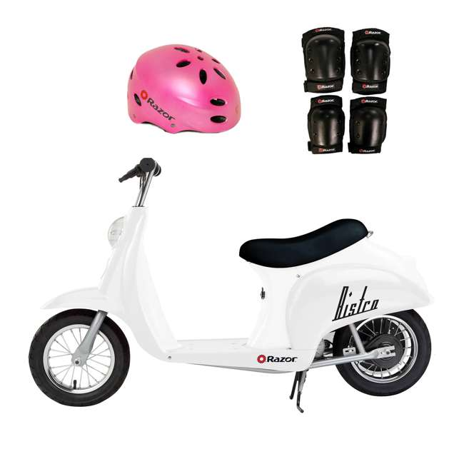 15130608 + 97783 + 96785 Razor Pocket Mod 24V Electric Retro Scooter, Kids Helmet, & Elbow & Knee Pads
