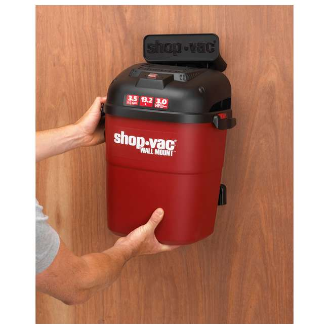 3940100 Shop Vac Wall Mount Portable 3.5 Gallon Wet Dry Vacuum Cleaner w/ 18 Foot Hose 4