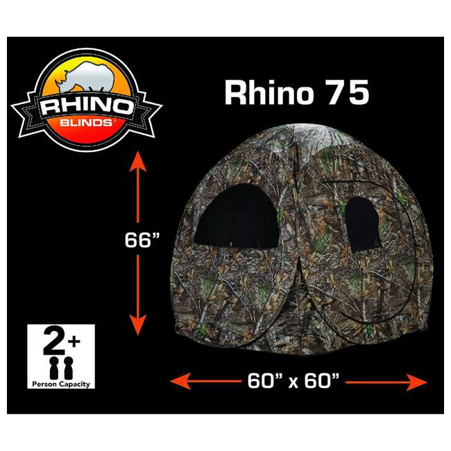 R75-RTE Rhino Blinds R75-RTE Real Tree Edge 2 Person Game Hunting Ground Blind, RealTree 1