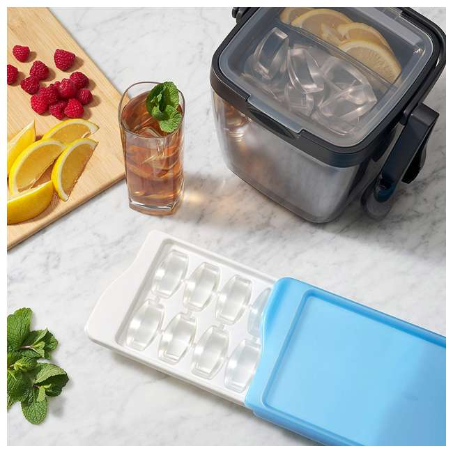 34881 OXO Good Grips Durable Lightweight Kitchen Covered Ice Cube Tray, White & Blue 4