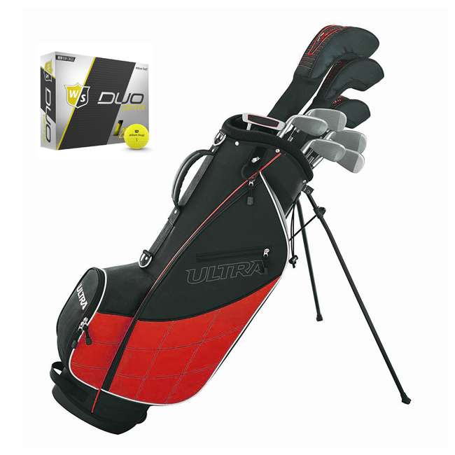 WGGC43200 + WGWP40150 Wilson Ultra Men's Complete Right Handed Golf Club Bag Set & Balls 1