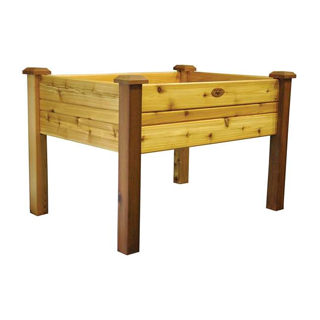 EGB 34-48S Gronomics Red Cedar Rustic Elevated Garden Bed 34 x 48 x 32 Inches, Finished