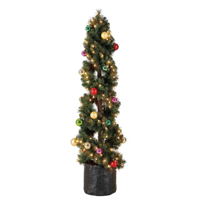TS50M3K08C01 Home Heritage 5 Foot Spiral Design Artificial Topiary Pine Tree w/ Clear Lights 2