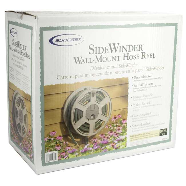 CPLSWA100-U-A New Suncast SWA100 100 Ft. Wall Mount Garden/Yard Hose Reel Side Winder- Taupe 4