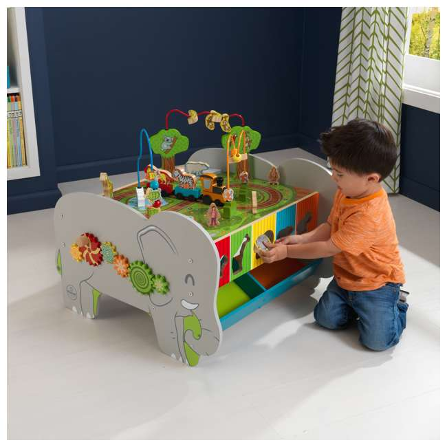 17508 KidKraft Kids Toddler Wooden Zoo Train Play Table Activity Station with Storage 1