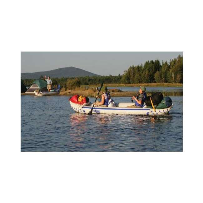 SE370K-DELUXE-OB Sea Eagle 370 Kayak - Deluxe 3 Person Inflatable Boat w/ Paddles 5