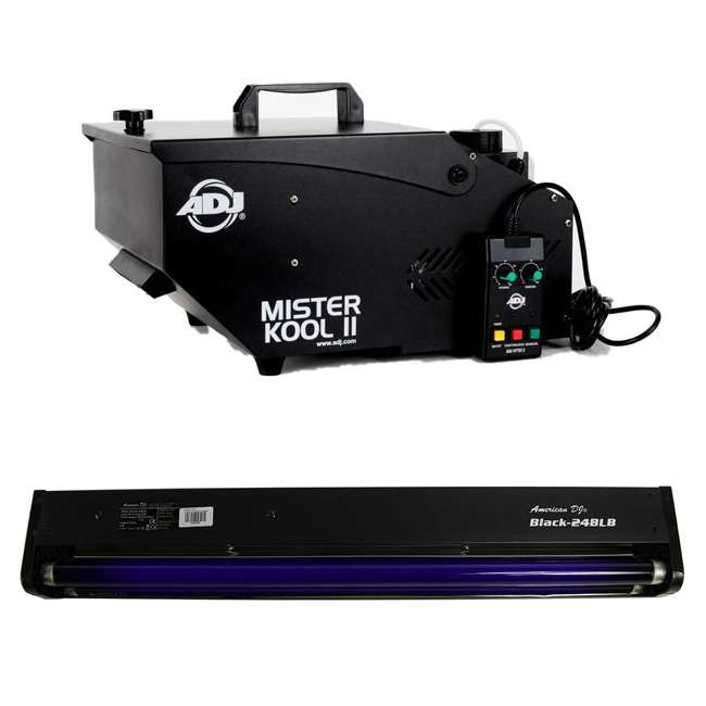 MISTER-KOOL-II-BLACK + BLACK-24BLB American DJ Mister Kool II Water Smoke Fog Machine w/ 24 Inch 20W Black Light