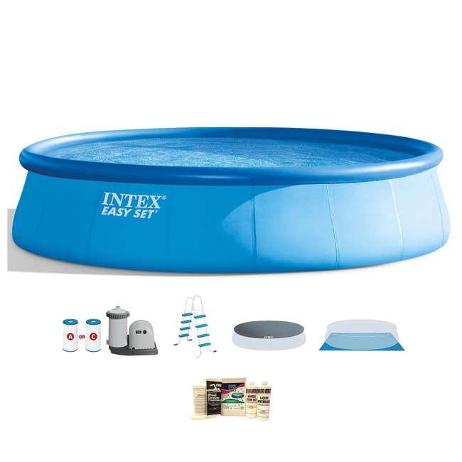 26175EH + QLC-57610 Intex 18 x 4 Foot Inflatable Easy Set Pool w/ Ladder, Pump, & Winterizing Kit