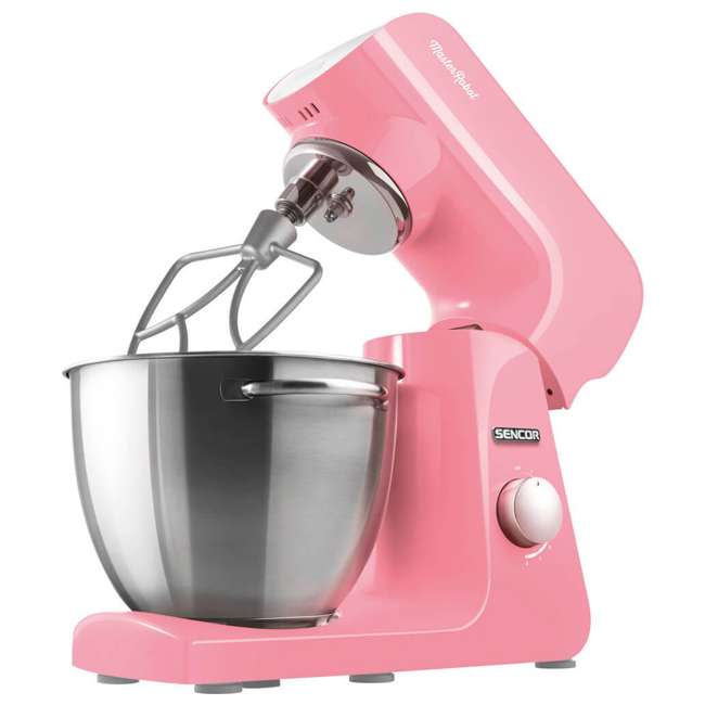 STM44RD-NAB1 Sencor STM44RD 8 Speed 4.7 Quart Stand Mixer with Beater and Hook, Pastel Red 1