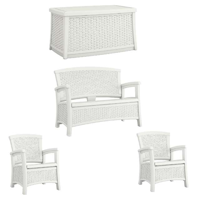 BMDB3010W + BMWB5000W + 2 x BMCC1800W Suncast Patio Coffee Table, Loveseat w/ Storage, Club Chair w/ Storage (2 Pack)