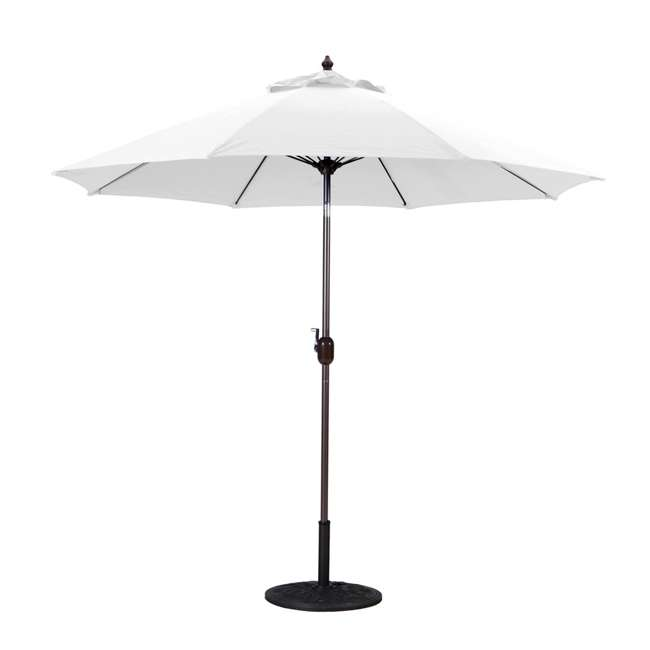 636Mb24-U-B Galtech 9 Foot Aluminum Manual Tilt Sun Shade Patio Umbrella, White (Used)