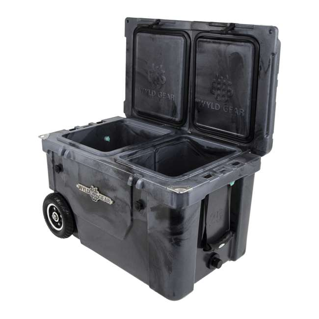 HC50-SB WYLD HC50-SB 50 Qt. Dual Compartment Insulated Cooler w/ Wheels, Black/Silver 2